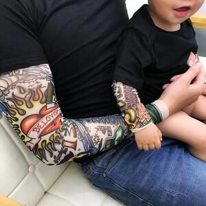<span class=H>童装</span>亲子儿童花臂婴儿服假两件纹身衣服<span class=H>T恤</span>男宝宝哈衣1-2-3岁上衣