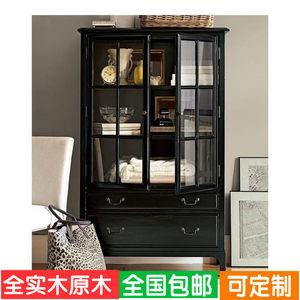整装美式简约复古做旧全实木原木两门黑色玻璃门<span class=H>书柜</span>书橱家具定制