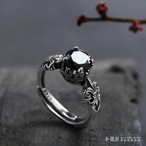 925纯<span class=H>银戒指</span> 天然黑玛瑙皇冠开口戒子男女款时尚潮人个性复古指环