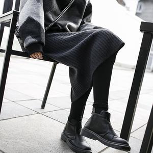 JHXC 秋冬高腰灰色针织开叉百褶半身裙<span class=H>女</span>中长款大码<span class=H>包臀</span>裙一步裙