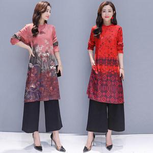 2018初秋新款改良复古印花旗袍中长款气质连衣裙两件套套装裙