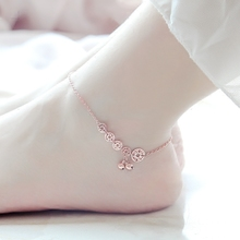 Korean version of the plated 18K rose money coin bell anklet female color gold girlfriends accessories lettering jewelry