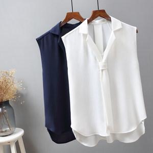 纯色无袖雪纺衬衫女夏季新款韩版时尚百搭小西装领气质带<span class=H>领带</span>衬衣