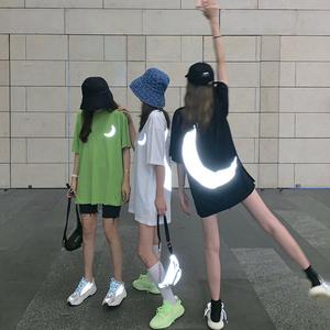 新款潮流月亮反光中长款宽松短袖T恤2019<span class=H>女装</span>夏季韩版打底衫上衣