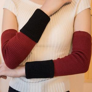羊毛手臂套秋冬季双层加厚女手套套袖针织毛线袖套保暖<span class=H>假袖子</span>男女