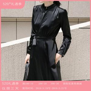 黑色晚<span class=H>礼服</span>法国小众连衣裙女装2019款春流行裙子长袖醋酸缎面长裙