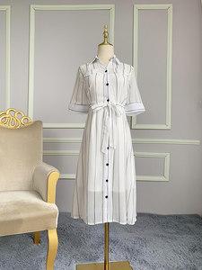 胖女士大码女装夏洋气吊带两件套系带<span class=H>长裙</span>显瘦很仙条纹雪纺连衣裙