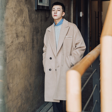 Winter double-breasted woolen overcoat for men