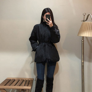 韩版黑色短款chic收腰小<span class=H>棉衣</span>外套2018新款时尚女潮冬ins棉服棉袄