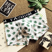 Men's Flat-angle Underwear, Trendy Male Hemp Leaf Printed Cotton Underwear, Low-waist, Tight-fitting, Sexy Sports Quartet Trousers, Male