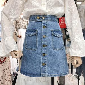 2019春装新款韩版显瘦高腰牛仔半身裙女单排扣时尚口袋A字短裙子
