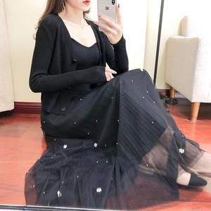 2019春季新款三件套针织衫打底气质爆款钉珠网纱半身裙套装女24