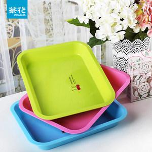 茶花托盘长方形家用大号小水杯杯子欧式放餐具水果茶杯盘塑料茶盘