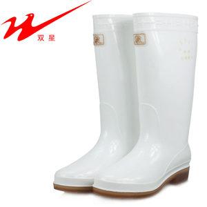 <span class=H>双星</span><span class=H>女</span>白色雨靴 高筒高腰<span class=H>雨鞋</span>防水鞋长 家禽加工食品卫生靴防酸碱
