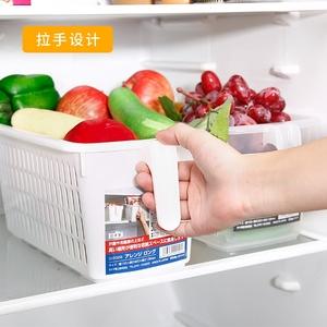 日本进口多规格收纳筐厨房塑料杂物整理筐<span class=H>收纳篮</span>带把手冰箱储物篮