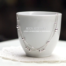 Temperament Double-deck Transfer Pearl 925 Silver Long Foot Chain Korean Edition Fresh Fashion Silver Jewelry Girlfriend's Birthday Gift
