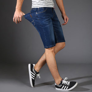 超薄款高弹力牛仔<span class=H>短裤</span>男士夏季修身五分裤弹性大码男装5分中裤子