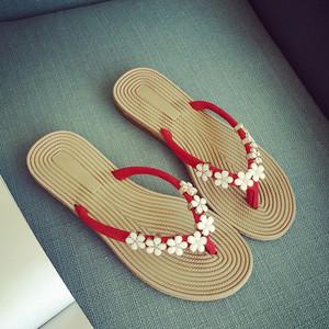 韩版2018夏季新款<span class=H>凉拖鞋</span>时尚糖果色甜美小花朵沙滩鞋平跟女凉鞋潮