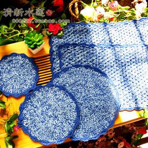 清新水莲 纯棉手工钩针勾花地中海风格蓝色圆形厚实隔热<span class=H>餐桌</span>垫子