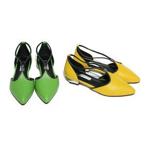 2017春夏凉鞋女真皮平底低跟浅口单鞋女中空包头女士皮鞋绿色<span class=H>鞋子</span>
