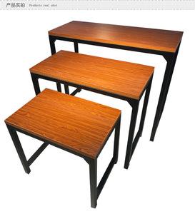 复古铁艺流水台服装店中岛展示桌高低凳包<span class=H>鞋子</span>陈列架组合展流水台