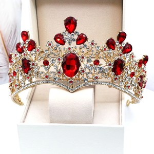 红色水晶新娘皇冠<span class=H>头饰</span>新款结婚大气奢华公主王冠发饰<span class=H>婚纱</span>礼服配饰
