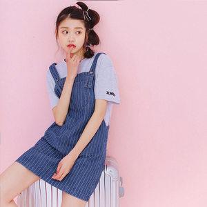 牛仔背带裙春秋女2017新款韩版学生甜美竖条纹吊带连衣裙