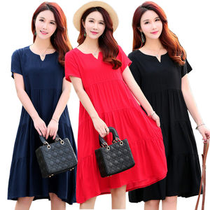 夏季新款棉绸印碎花纯色<span class=H>连衣裙</span>加肥大码人造棉宽松中长款宽松