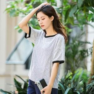 2019夏季新款短袖条纹<span class=H>T恤</span>女宽松文艺范学生复古学院风小清新上衣