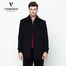 VERSINO Men's Winter Men's Turn-collar Wool Fabric Overcoat