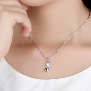 银项链925纯银 气质小狐狸吊坠饰品女坠子 单坠小众设计网红套链