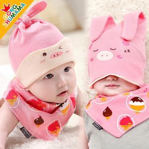 韩版春秋季薄款婴儿帽子6-12个月秋冬1岁女<span class=H>宝宝</span>3公主新生儿胎帽0