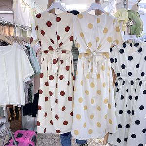 夏季新款女装甜美大波点露腰后单排扣时尚气质宽松休闲百搭<span class=H>连衣裙</span>