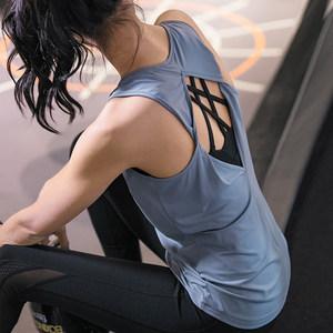 美背运动<span class=H>背心</span>女外穿显瘦瑜伽服宽松速干T恤无袖跑步撸铁健身短袖N
