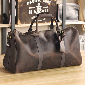 欧美潮流男士手提旅行包真皮大容量登机包商务出差短途旅游行李袋