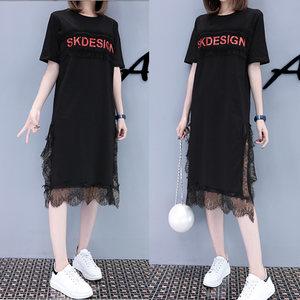 夏季大码女装时尚圆领短袖字母<span class=H>连衣裙</span>蕾丝黑色显瘦中长款开叉裙子