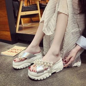 时尚串珠水钻<span class=H>松糕</span>跟一字拖夏季2019新款防滑厚底凉<span class=H>拖鞋</span>增高外穿女