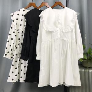 泰国潮牌2019春夏娃娃大翻领灯笼袖名媛气质很仙的白色短款<span class=H>连衣裙</span>