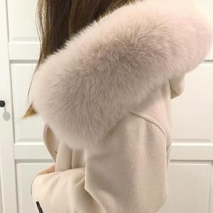 <span class=H>女装</span>斗篷毛呢外套狐狸毛领羊绒羊毛呢子大衣女中长款毛领大衣外套