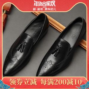 新款英伦真皮流苏<span class=H>男鞋</span><span class=H>布洛克</span>雕花尖头商务休闲皮鞋男韩版潮流<span class=H>鞋子</span>