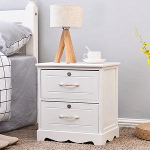 欧式实木床头柜简约现代卧室收纳柜床边小<span class=H>柜子</span>带锁简易特价经济型