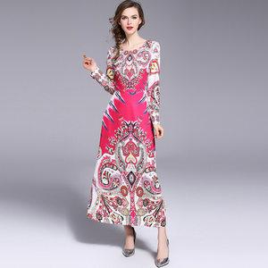 2018<span class=H>爆款</span>速卖通亚马逊新款 欧美时尚女装<span class=H>长袖</span>印花收腰<span class=H>连衣裙</span>长裙