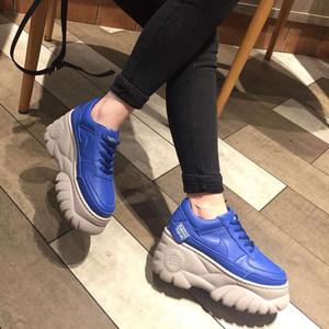 欧洲站2019春季新款真皮增高女鞋厚底松糕运动<span class=H>休闲鞋</span>坡跟低帮单鞋