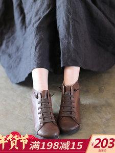 踏云行冬季加绒女鞋低跟高帮鞋 秋季真皮复古圆头<span class=H>短靴</span>平底单鞋子