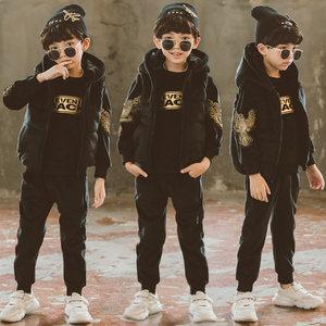 儿童加绒加厚宝宝金丝绒<span class=H>卫衣</span>套装双面绒中大童男童三件套冬装棉袄