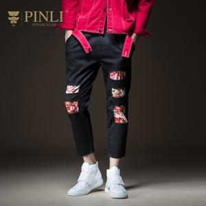 PINLI品立秋季新款<span class=H>男装</span>修身水洗破洞小脚牛仔9分裤B183116337