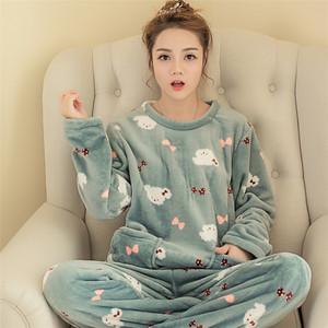 秋冬季韩版珊瑚绒<span class=H>睡衣</span>女式可爱卡通休闲套头法兰绒长袖套装家居服