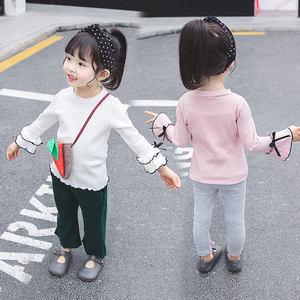 韩版春款童装女童泡泡袖T恤小童纯棉2019<span class=H>打底衫</span>女宝长袖百搭上衣