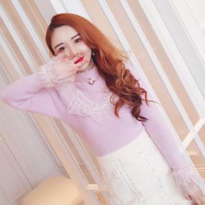 镂空破洞心机<span class=H>毛衣</span>女半高领蕾丝花边拼接修身显身材紫色打底针织衫