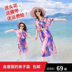 新款夏装亲子装母女沙滩裙连衣裙海边度假波西米亚宽松显瘦大码潮